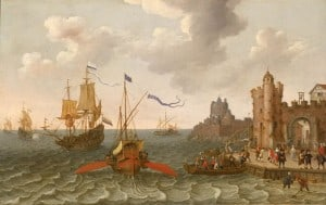 Oar propelled ship. Abraham Willaerts (circa 1603–1669).