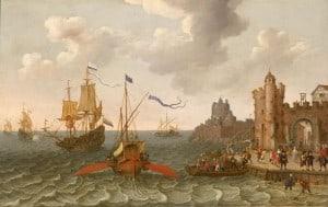 Oar propelled ship. Abraham Willaerts (circa 1603–1669).
