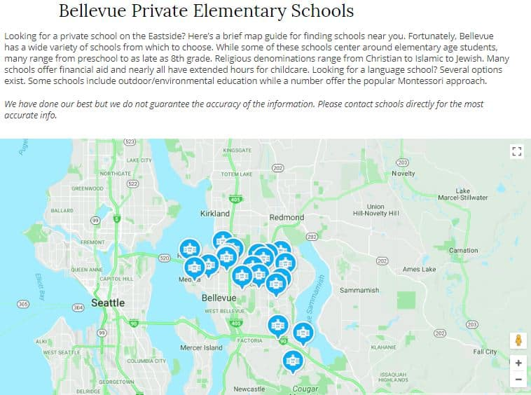 Bellevue private elementary schools